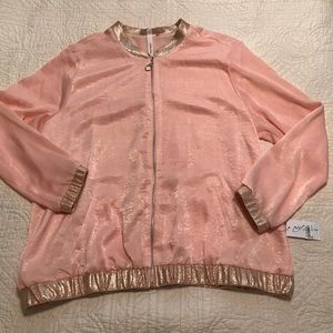 NWT NY Collection Pink Silky Shimmer Bomber Jacket